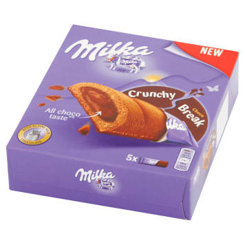 MILKA Crunchy Break Cocoa cakes with nut filling and milk chocolate 5 pcs 130 g
