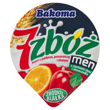 Bakoma 7 zbóż Men Jogurt jabłkowo-pomarańczow dostarcza energii i składników odżywczych.