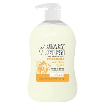Biały Jeleń Premium Hipoalergiczne mydło w płynie chroni wrażliwą skórę dzięki ekstraktom z owsa.