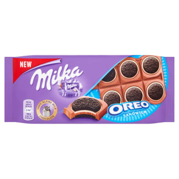 MILKA OREO Milk chocolate with cocoa cookies and milk filling 92g