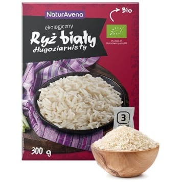 NATURAVENA White long-grain rice (3x100g) bag 300g