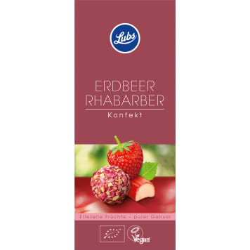 LUBS Fruit pralines with strawberry and Rhubarb BIO 80g