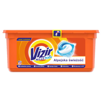 VIZIR ALPINE FRESH Capsules for washing white and colored fabrics 28 pcs. 1pc