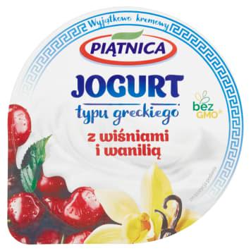 Jogurt grecki 0% z wiśniami - Piątnica wprodukowano z mleka i żywych kultur bakterii.