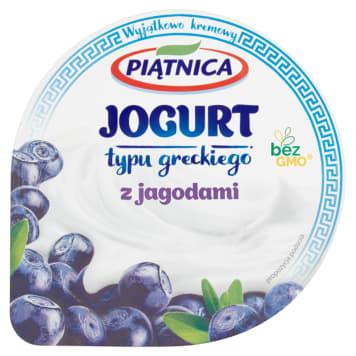 Jogurt 0% typu greckiego z jagodami - Piątnica. Gęsty jogurt z owocami, bez tłuszczu.