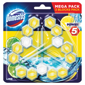DOMESTOS Power 5 Toilet block Lime (3x55g) 1pc