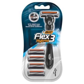 BIC Flex 3 Hybrid One-piece shaving machine + 4 removable cartridges 1pc