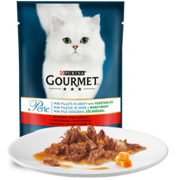 Pokarm dla kotów z wołowiną i marchewką - Gourmet posmakuje każdemu małemu smakoszowi.