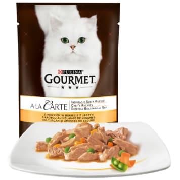 Pokarm dla kotów - indyk i warzywa (saszetka) 85g GOURMET. Uczta smaków dla wszystkich kotów.