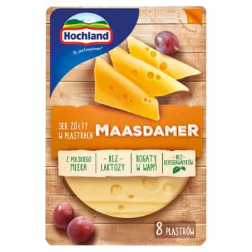 Ser żółty Maasdamer w plastrach – Hochland jest popularnym dodatkiem do pieczywa.