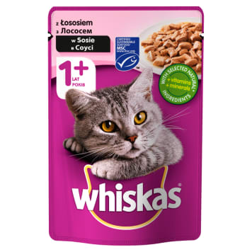 Pokarm dla kotów z łososiem w sosie w saszetce – Whiskas to posiłek dla dorosłego kota.