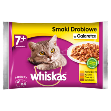 WHISKAS 1+ Cat Food - Selection of Poultry Dishes in Jelly (4 sachets) 400g