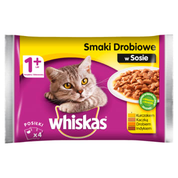 WHISKAS 1+ Cat food - Poultry flavors in sauce (4 sachets) 400g