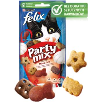 Purina Felix – Party Mix Przekąska dla kotów Mixed Grill zawiera mieszankę doskonałych mięs.