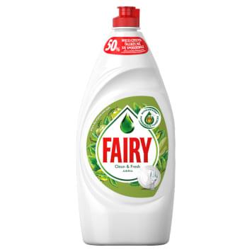 Płyn do mycia naczyń o zapachu jabłka – Fairy świetnie radzi sobie z tłuszczem i nie niszczy dłoni.