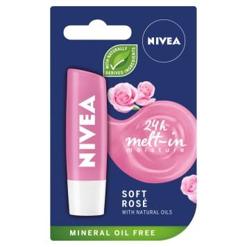 NIVEA Pomadka pielęgnacyjna Soft Rose 4,8g. Codzienne nawilżenie i ochrona ust.