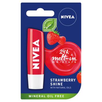 NIVEA Pomadka Fruity Shine Strawberry 4,8g - chroniąca usta pomadka o truskawkowym smaku.