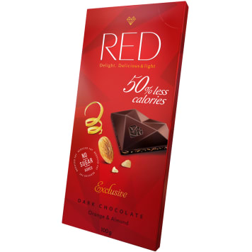 RED Dark chocolate with reduced calorie content -50% Orange & Almond 100 g