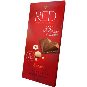 RED Milk chocolate Hazelnut & Macadamia with reduced calorie content 100g