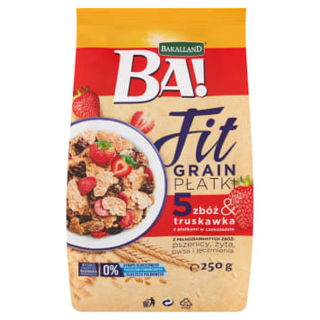 BAKALLAND BA! 5 cereal flakes & strawberry with chocolate flakes 250g