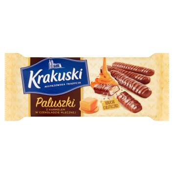 KRAKUSKI Fingers with caramel in milk chocolate 144 g