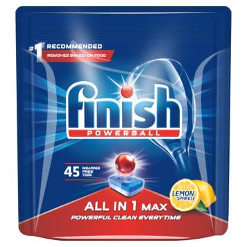 FINISH All in 1 MAX TABLETKI do zmywarki 45 szt. LEMON funkcja namaczania wstępnego, dzięki której nie będziesz już musiał płukać naczyń przed włożeniem ich do zmywarki.