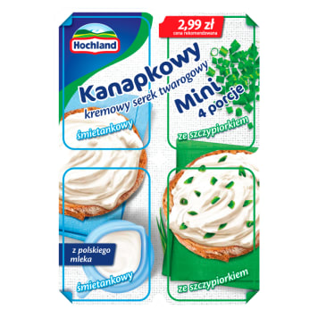 HOCHLAND Kanapkowy Cream curd cheese with chives 4x30 g 120g