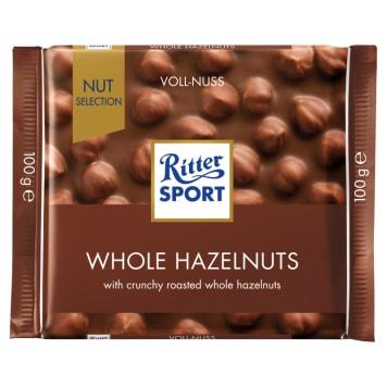 Ritter Sport - Czekolada mleczna z całymi orzechami laskowymi. Przysmak dla miłośników słodyczy.