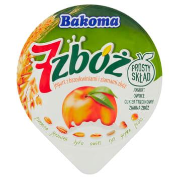 Jogurt z brzoskwiniami i ziarnami - Bakoma. Owocowy jogurt z dodatkiem 7 zbóż.