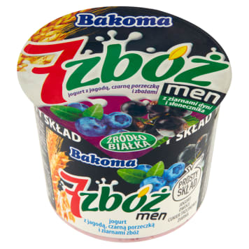 Jogurt - Bakoma Men 7 zbóż. Zdrowa przekąska w czasie przerwy.
