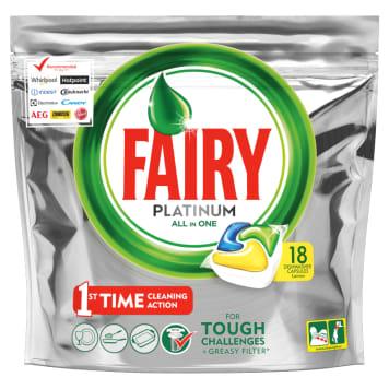 Kapsułki do zmywarek Lemon – Fairy Platinum skutecznie doczyści naczynia.