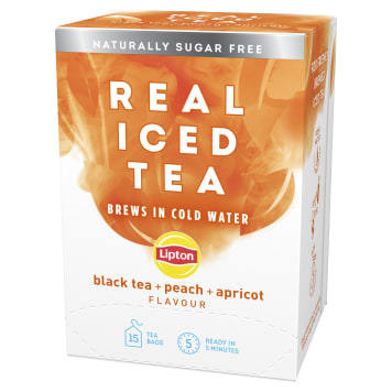 LIPTON Real Iced Tea Herbata czarna aromatyzowana Brzoskwinia Morela 15 torebek 75g