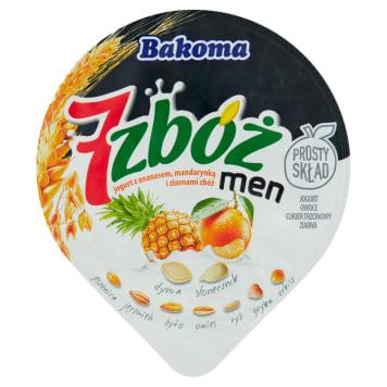 Jogurt ananasowo-mandarynkowy Men - Bakoma. Owocowy jogurt z ziarnami przeznaczony dla mężczyzn.