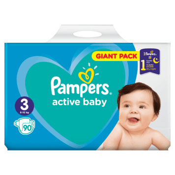 Pieluchy Active Baby - Pampers to udowodniona długotrwała suchość, tym razem w rozmiarze midi.