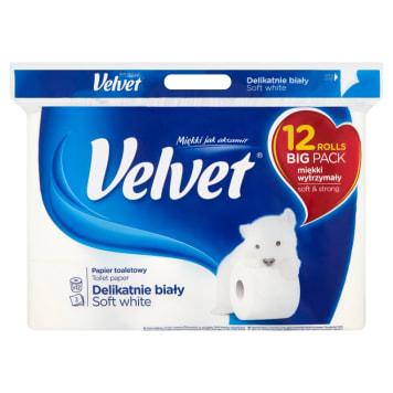 VELVET Delikatnie Biały Papier toaletowy 9 rolek + 3 GRATIS 1szt