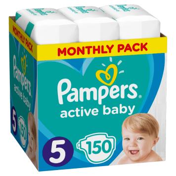 Pieluchy rozmiar 5 - Pampers Active Babry Dry. Pieluszki zapewniają aż do 12 godzin suchości.