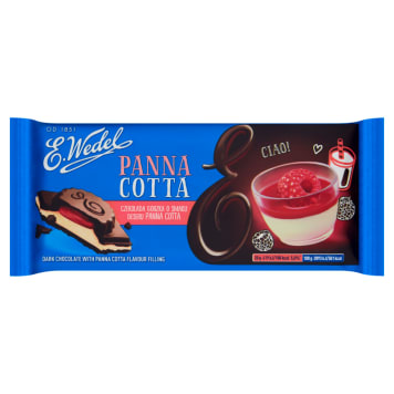 Wedel Czekolada gorzka o smaku panna cotta to połączenie gorzkiej czekolady i śmietankowego deseru.