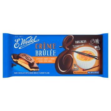 Wedel Czekolada gorzka o smaku creme brulee łączy słodycz deseru z gorzką czekoladą.