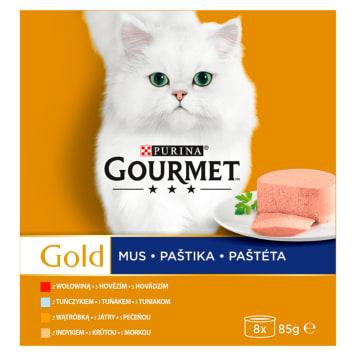 Pełnoporcjowa karma dla kotów MIX 8 szt.- Gourmet Gold. Zachwyci wszystkich czworonogów.
