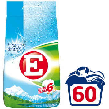 Proszek do prania białych tkanin - E zapobiega szarzeniu bieli pranych tkanin.