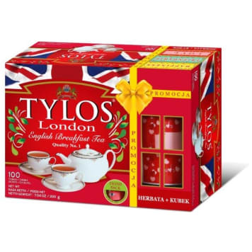 TYLOS English Breakfast Tea Herbata czarna 100 torebek + kubek 200 g