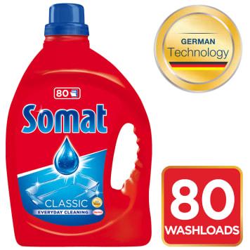 Żel do mycia naczyń w zmywarkach - Somat pozostawia naczynia lśniące.