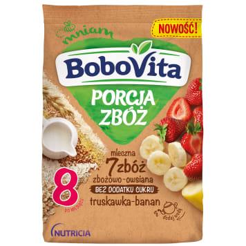 BOBOVITA Porcja Zbóż Kaszka mleczna 7 zbóż zbożowo-owsiana truskawka-banan od 8 miesiąca 210g