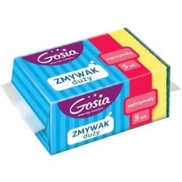 GOSIA Zmywak maxi (5 szt) - duże gąbki, doskonałe do mycia naczyń o znacznej pojemności.