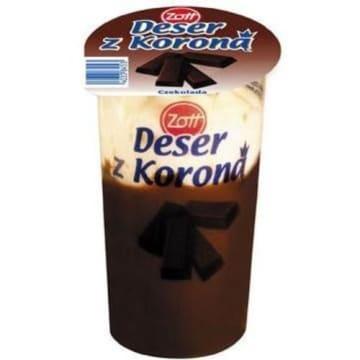 Deser z koroną – Zott. Doskonałe połączenie czekolady z bitą śmietaną pysznie smakuje.