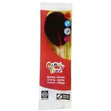 Lizaki wiśniowe BIO 13 g - Candy Tree. Na bazie syropu kukurydzianego i soków z owoców.