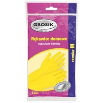 Rękawiczki domowe Rozmiar M Grosik dzięki bawełniane wyściółce podnoszą komfort sprzątania.