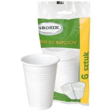 kubki jednorazowego użytku GROSIK 6 szt. Doskonałe na napoje w czasie przyjęcia lub w podróży.