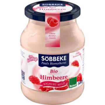 Jogurt malinowy BIO 500 g, 7,5% tłuszczu – Sobbeke. Ma łagodny, naturalny smak.