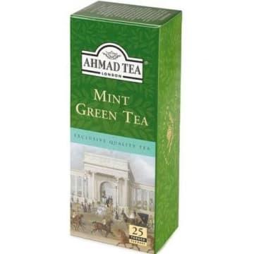 Herbata zielona z miętą 25 torebek - Ahmad Tea - dobrodziejstwo zielonej herbaty i orzeźwienie mięty